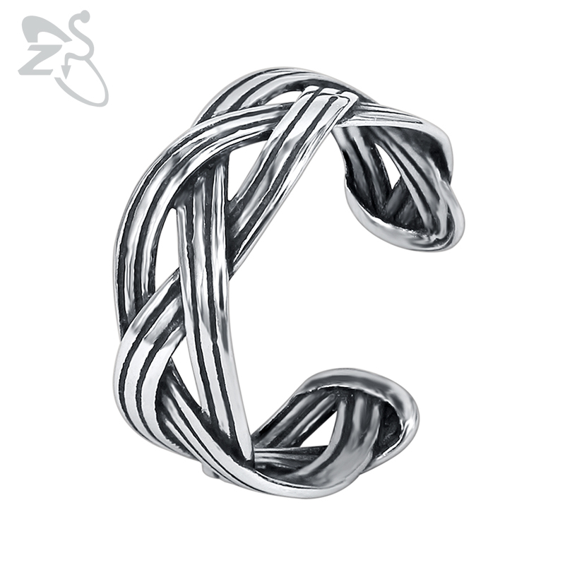 ZS Punk Style Open Rings Men's Stainless Steel Finger Ring Male Hip Hop Jewelry Vintage Biker Accessories Gothic Ring for Men