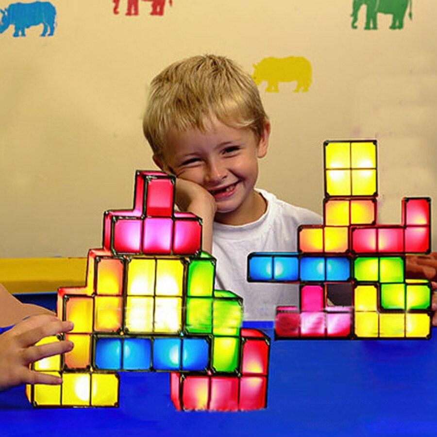 BEIAIDI Edificabile Tetris Puzzle Luce Creativa di Notte Luce Giocattolo Impilabile LED Desk Lamp Lampade FAI DA TE Retro Game Torre Regalo Di Natale