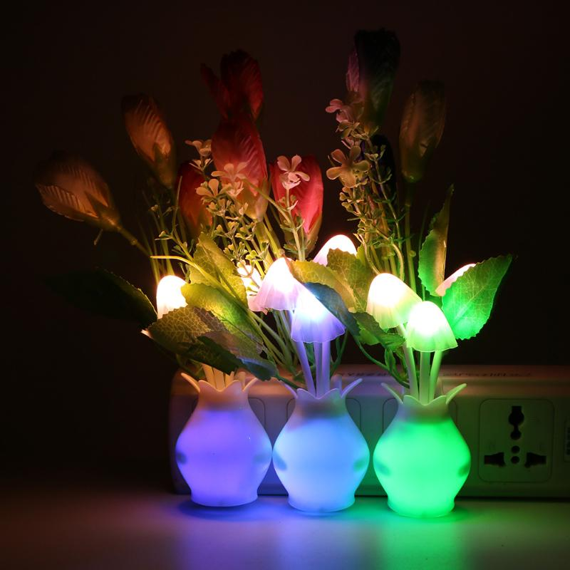 LED Mushroom Flower Plant Colorful Nightlight Light-controll