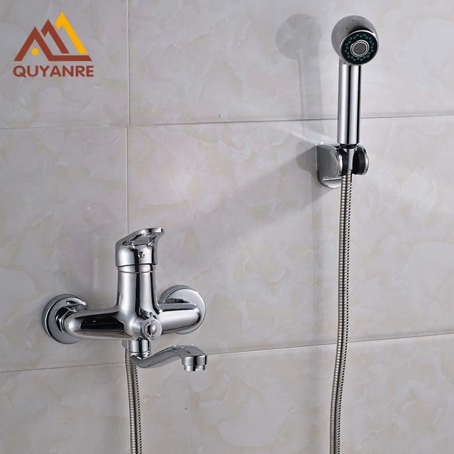 Long Tub Spout Bathroom Wall Mount Faucet With Abs Handshower And Hose Dual Hole Shower
