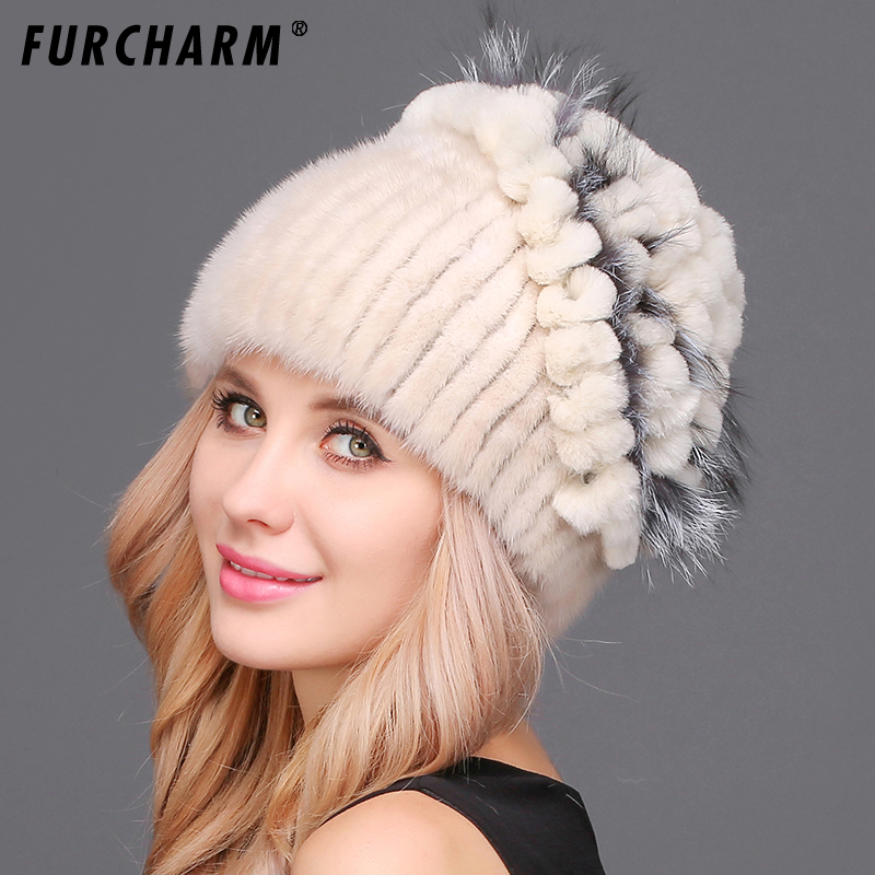 FURCHARM Russian Real mink fur hat for women winter knitted mink fur hats beanie cap Silver fox fur pom pom hat for girls women russian women natural fur cap luxury knit mink fur hat winter fur hat 5 colors