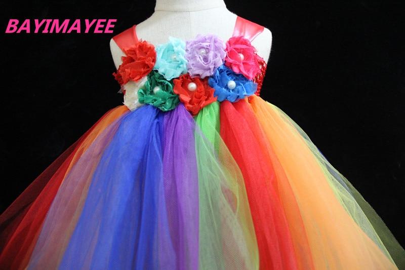 Vajzat me ngjyrosje ylberi fustan fëmijët me grep lule me grep Tutu - Veshje për fëmijë - Foto 6
