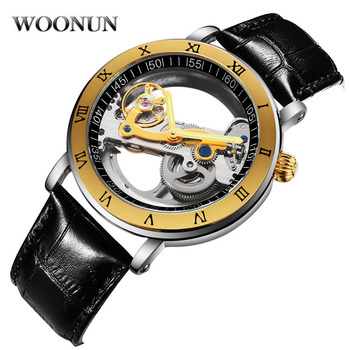 2020 New Men's Watch Tourbillon Mechanical Watches Transparent Hollow Automatic Self Wind Watches Leather Band Skeleton relojes