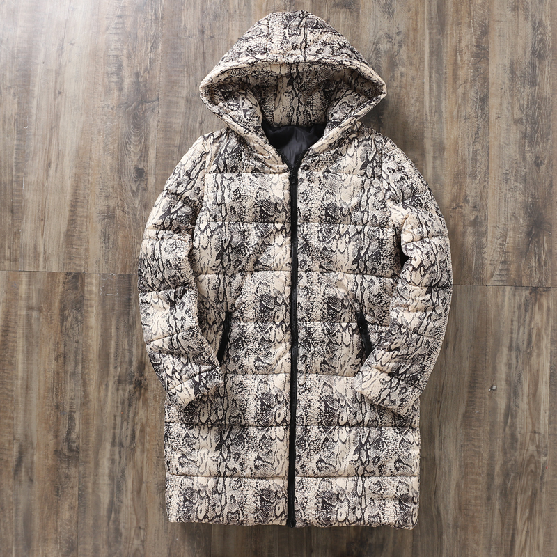 snake pattern spring womens jackets and coats 2019   Parkas   plus size for women Jackets warm Outwear With Oversize Coat   Parka