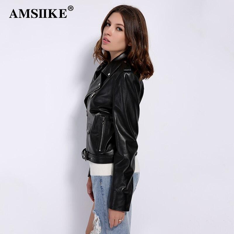Femmes Zipper Cuir Manteau Noir A2703 Automne Ceintures Veste En De Oblique Moto Mouton Peau Véritable Amsiike waX4qq