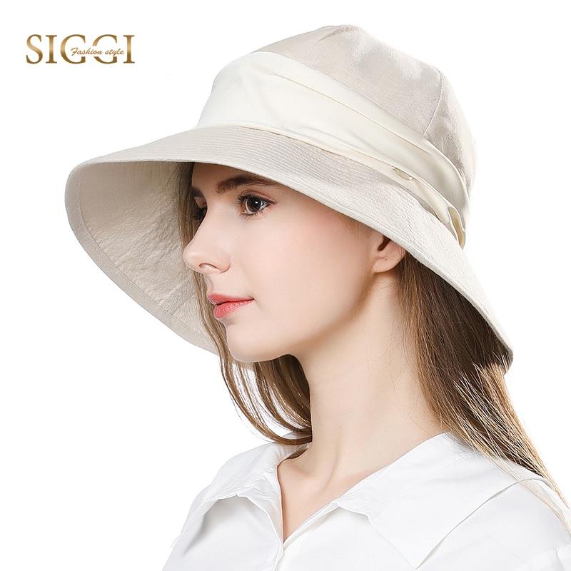 b54bb17ee709e SIGGI Women Summer Sun Hat Packable bucket wide brim chapeu feminino praia  chapeau femme cap cotton ramie sunhat chin cord 89334