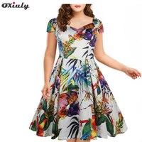 Oxiuly Plus Size 4XL 5XL Vintage Dresses Print Floral 50s 60s Audrey Hepburn 2017 Summer A