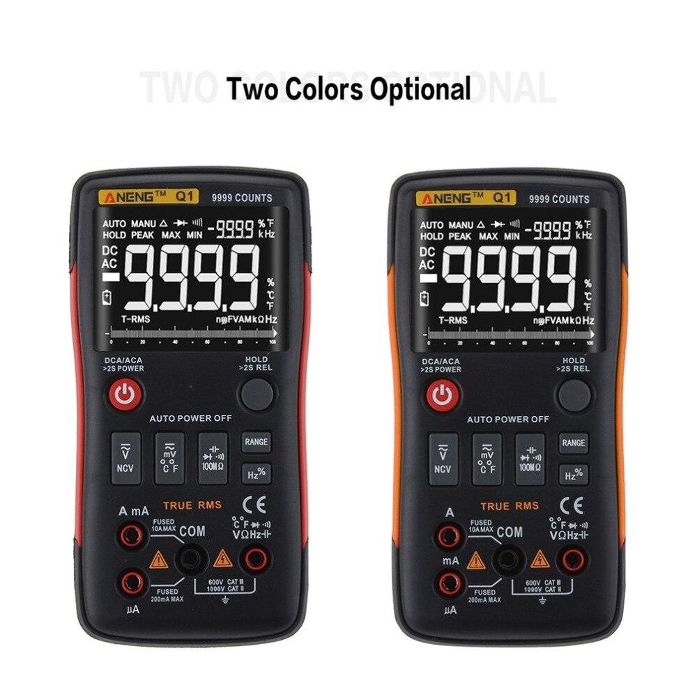 Numérique Multimètre ANENG Q1 9999 Comtes Vrai RMS Auto/Manuel Gamme AC/DC Volt Ampère Ohm Capacité Fréquence température Testeur