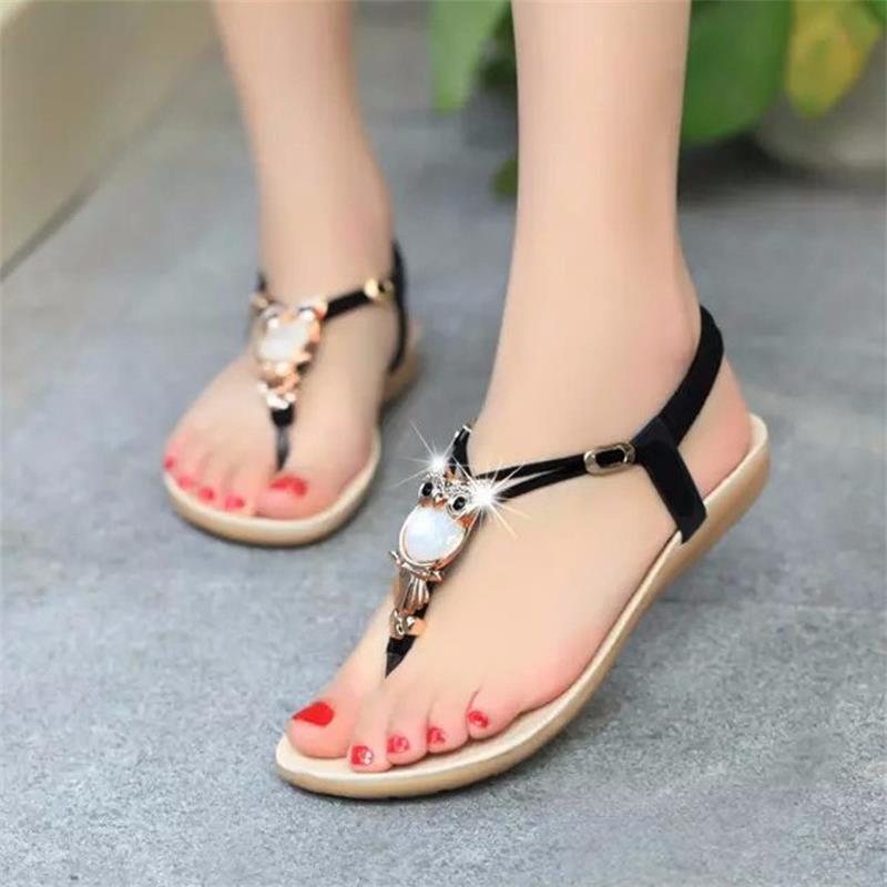 Hot Sale 2019 Fashion Women flat sandals String Bead Bohemia summer sandals ladies Sweet slip on beach flip flops women BT143 girl shoes in sri lanka