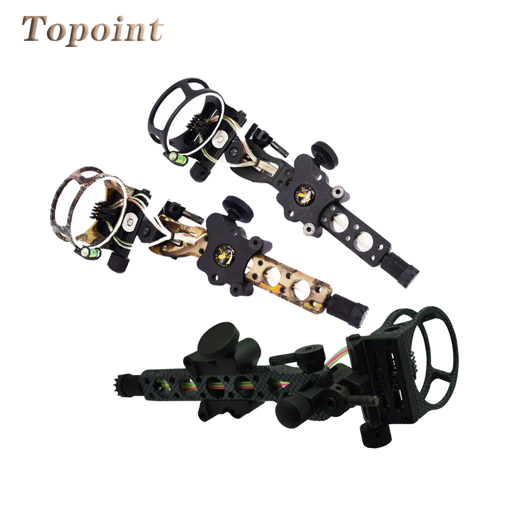 Topoint 5 pins 019 Bow Sight w/ Micro Adjust Detachable Bracket, Sight Light for Both Right /Left Hand Compound Bow Archery 4 color compound bow sight 1 pin 0 019 with quickly adjust detachable bracket tp9510 camo for hunting shooting archery