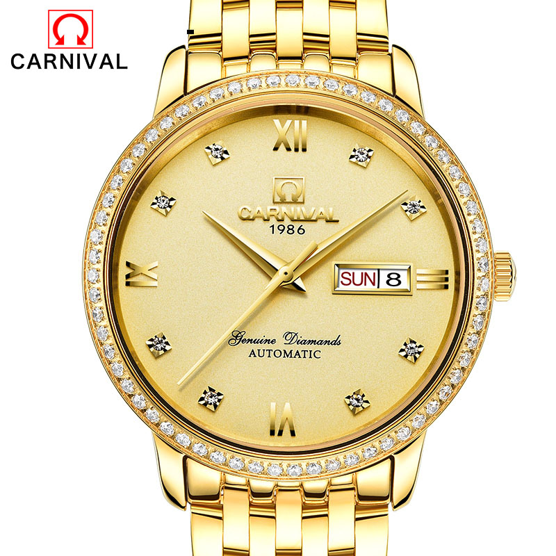 Relogio Masculino 2017 Carnival Watches Men Business Stainless Steel Wristwatch Mens Fashion Automatic Mechanical Watch Reloj mens automatic mechanical watch men fashion business watches men s tourbillion stainless steel wristwatches relogio masculino