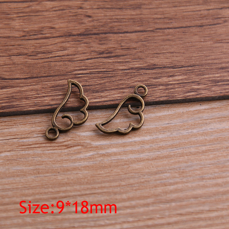 60PCS 9*18mm Metal Alloy Three Color Mini Hollow Wing Charms Pendants for Jewelry Making DIY Handmade Craft 4