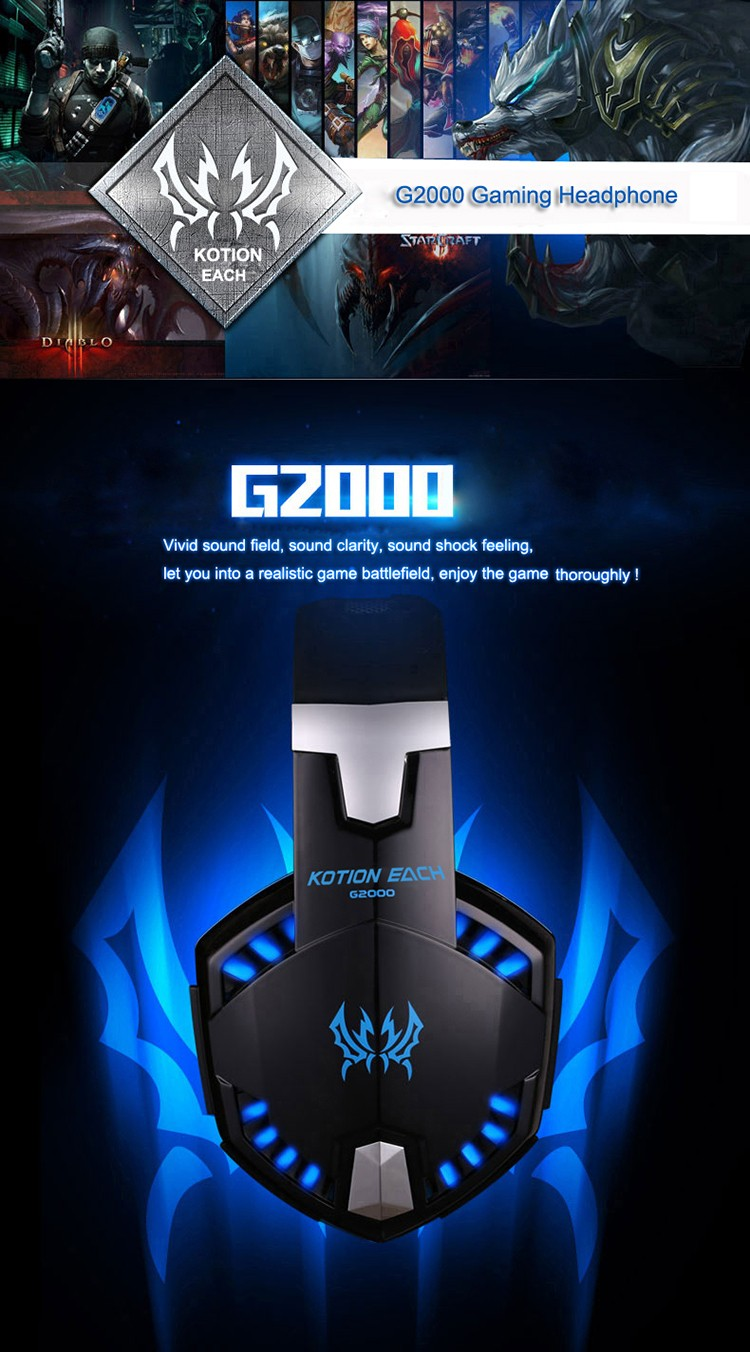 EACH G2000 Over-ear Gaming Headphone Headset Earphone With Mic Stereo Surrounded Bass LED Light For PC Game (1)