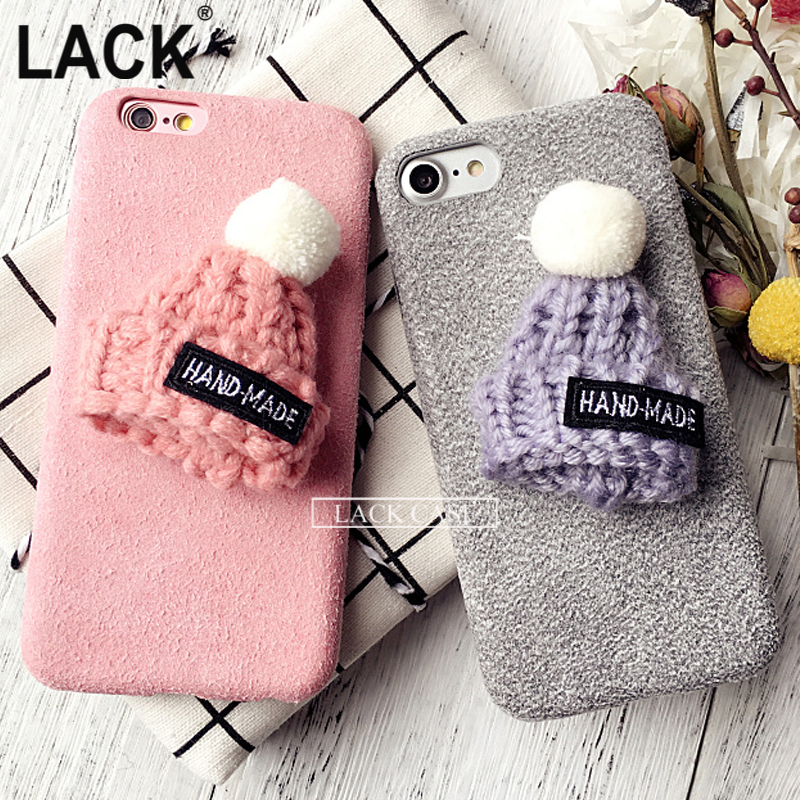 New Fashion Funda For IPhone 7 Case Warm Rabbit Fur Ball Case Plush Hat Phone Case for Iphone7 6 6S Plus DIY Luxury Back Cover