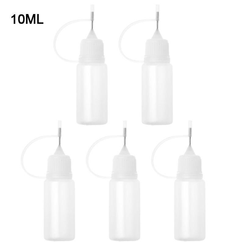 5 X50ml 10ml Empty Plastic Squeeze Liquid Dropper Bottle With Metal Needle For Vape font b