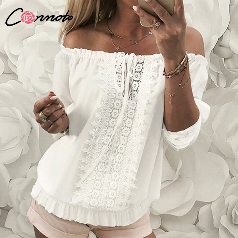 Conmoto Chiffon   Blouse     Shirt   Women Lace White Off Shoulder Sexy Hollow Out Ruffles   Blouses   Club Casual Tops Blusa Mujer