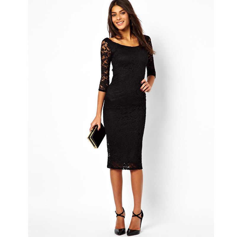 95f5235ce8d8b7f ... Повседневное вечерние Кружево выдалбливают маленький черный Тонкий  Bodycon ниже по колено миди Платья для женщин на Aliexpress.com | группа  alibaba