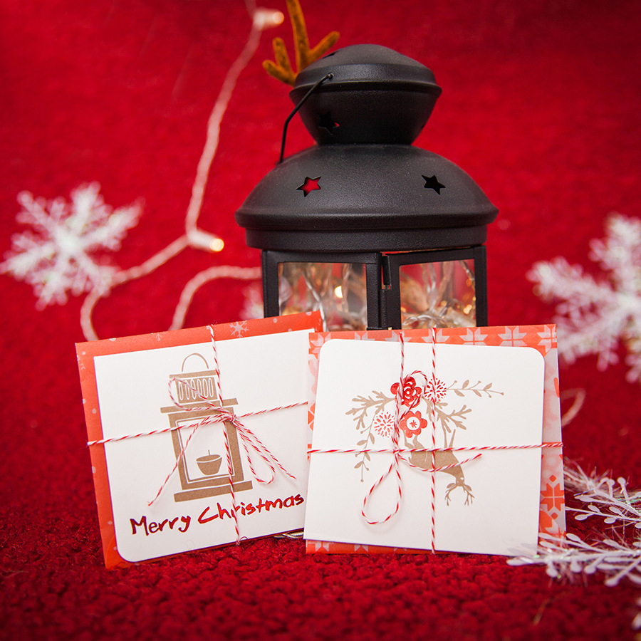 mini 8set Christmas Card simple design envelope and rope as leave message  cards Lucky Love Party Invitation-in Cards & Invitations from Home & Garden