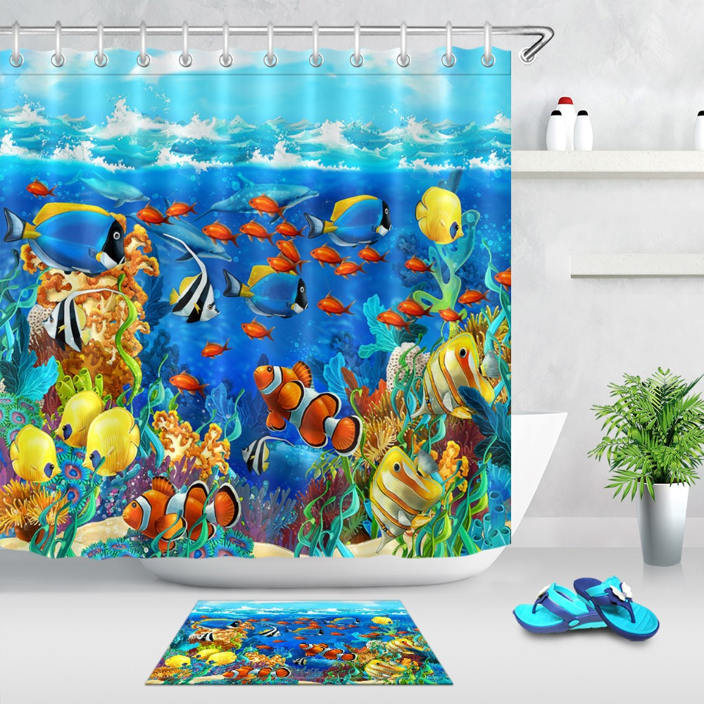 LB Coral Reef And Fish Blue Shower Curtain Scenic With Mat Set Waterproof Bathroom Nature Custom Fabric For Kids Bathtub Decor In Curtains From Home