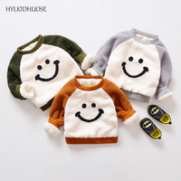 HYLKIDHUOSE Autumn Winter Baby Girls Boys Sweater Cute Smiling Face Infant Sweater Children Kids Warm Thick
