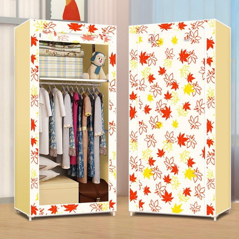 Tissu Art Simple Armoire Pliante En Bois Massif Simple Collection de Garde-Robe En Tissu Assemblage Armoire Placard Portatif