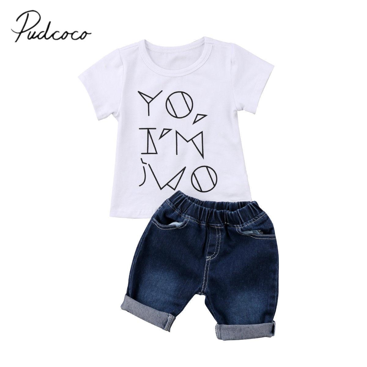2018 Brand New Toddler Infant Child Kids Baby Boys Summer Clothes Shirt Short Jeans Pants 2PCS White T-shirt Casual set 6M-4T