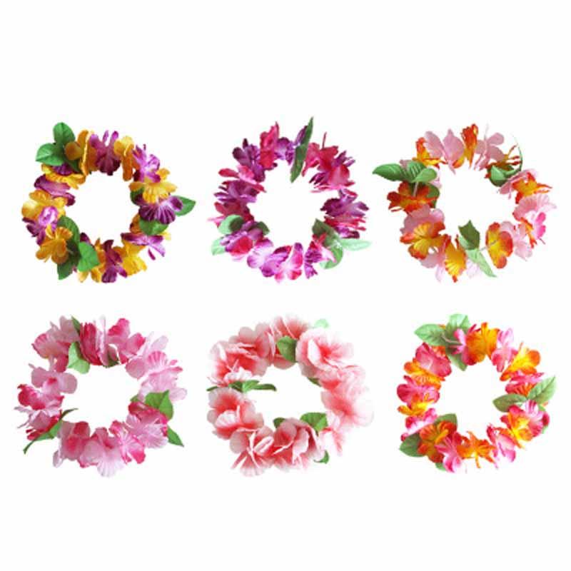 Tropical Luau Hawaiian leis Flowers Headband Headpiece for Summer Beach swimming pool wedding Birthday Party Decoration Favor