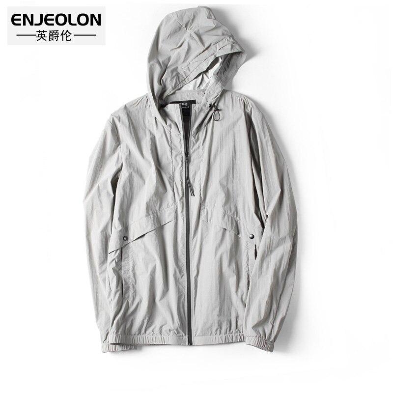 Enjeolon 2018 новых Защита от солнца пальто мужчины кожи одежда тонкий слой кожи для мужчин Солнцезащитная одежда мужские летние дышащие FSY9010