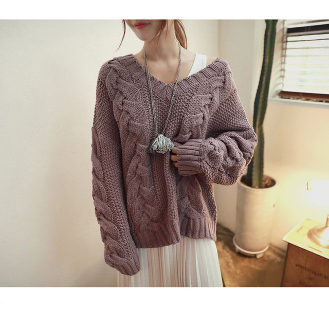 Autumn and Winter Women Pullover And Sweaters korean style long sleeve sweater Loose solid knitted jumpers sweater  MA038