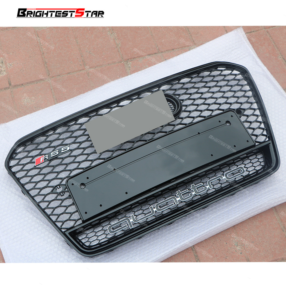 Black For Audi A5 Coup Grill ABS Front Honey Mesh Grille Quattro Logo For Audi A5 S5 RS5 Sedan Coupe Convertible 2012-2016 1pcs 3d metal s5 car front grille adhesive emblem badge stickers accessories styling for audi a5 s5