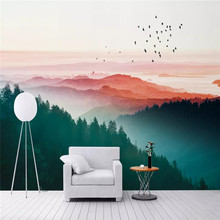 Custom wallpaper Nordic wind fog pine sunset city background wall painting decorative waterproof material