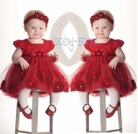 Retail New 2016 Baby Girl Dress Lace Flowers Kids TUTU Dress Red Hairband Infant Clothing Summer