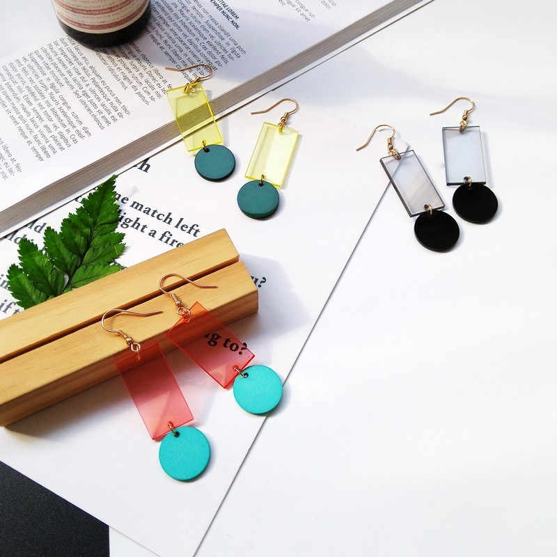 Contrast Acetate Alloy Earrings Geometric Rectangular Round Transparent Acrylic Earrings Trendy Famale Unique Jewelry Accessorie