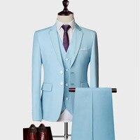 Men Suit 2019 Famous Brand Mens Suits Wedding Groom Plus Size M 5XL 3 Pieces(Jacket+Vest+Pant) Slim Fit Casual Tuxedo Suit Male
