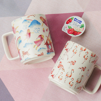Nordic Flamingo Girl Pink Ceramic Breakfast Home Office Mug Cup two types for choose