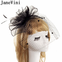 JaneVini Black Bride Wedding Hats and Fascinators Feather Headdress Birdcage Net Veil Women Hat For Wedding Party Accessories