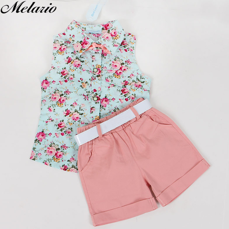 Clothing sets 2018 fashion sleeveless print summer style baby boys girls Shirt + shorts + belt 3pcs suit children clothing sets shein kiddie floral print cami top with fringe shorts girls suit sets 2019 summer sleeveless ruffle hem cute kids clothes sets