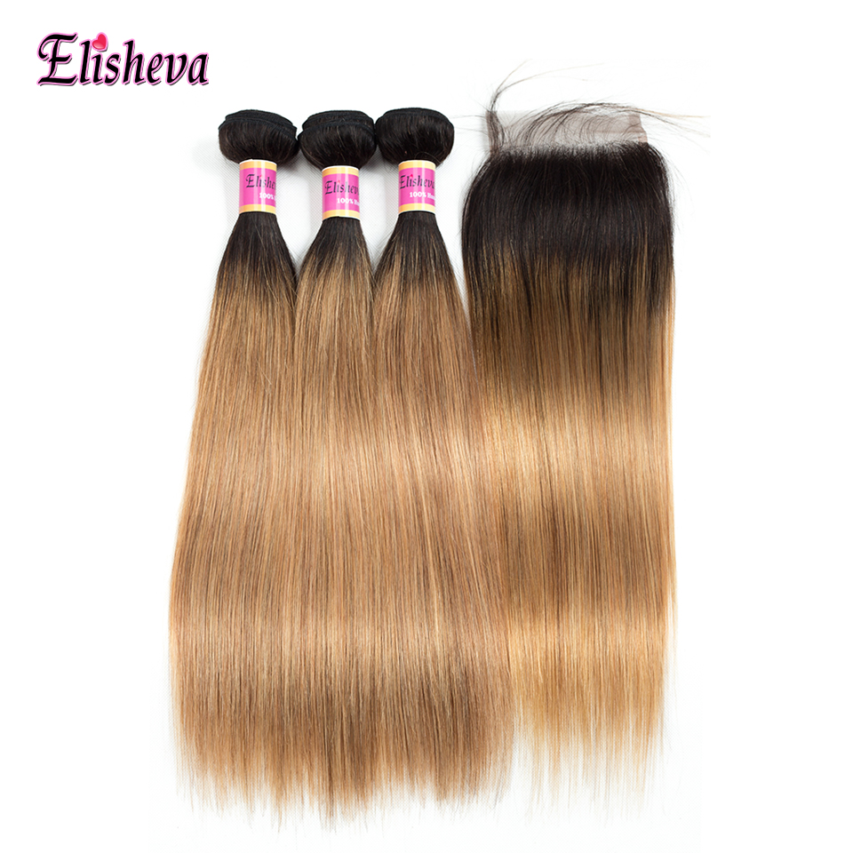 Ombre Brazilian Straight Hair Bundles With Closure T1b 27 Pre Colored Human Hair Weave With Lace