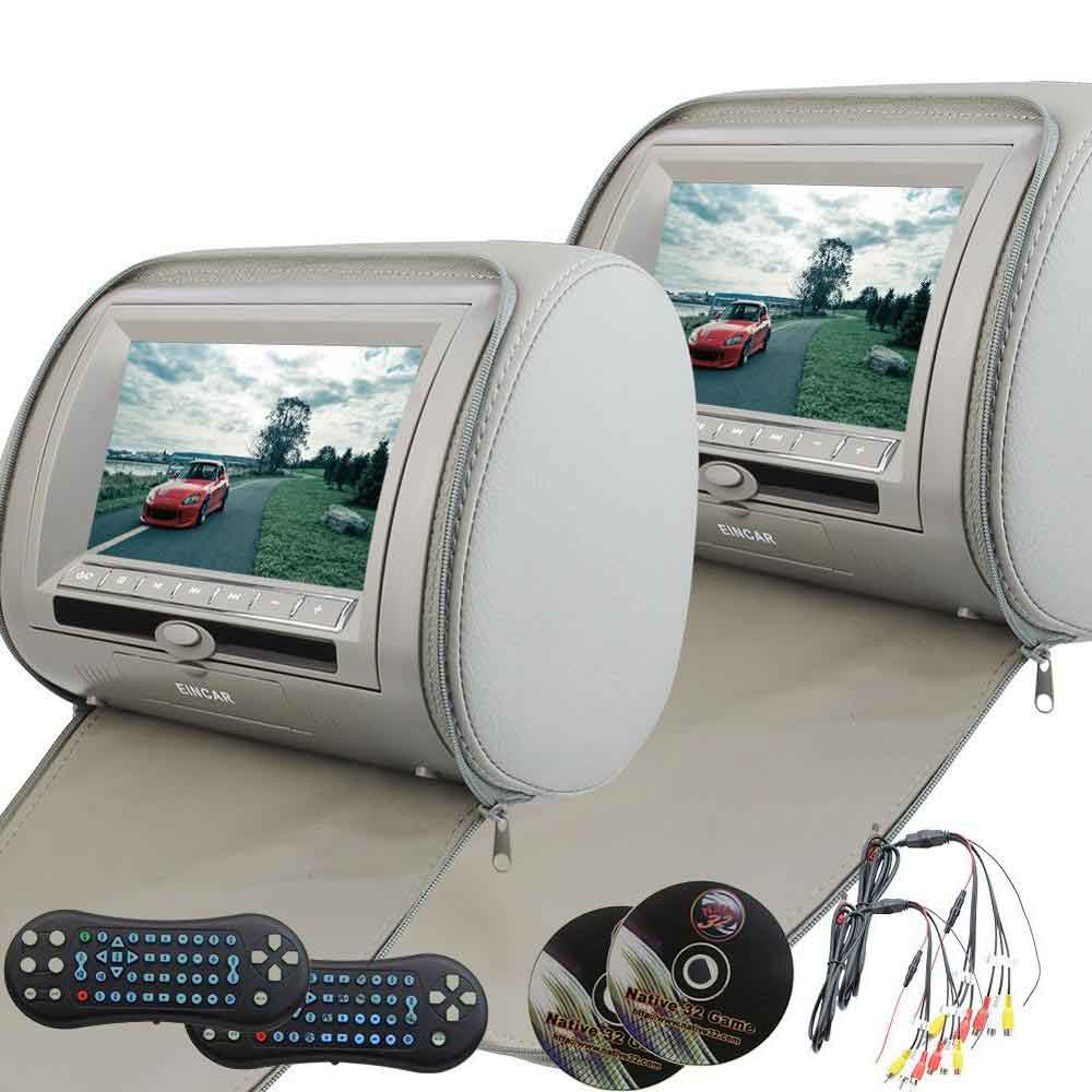 2x7 Car Headrest DVD Player HDMI HD screen Backseat Video Support 32 Bits Game Detachable Zip Cover IR FM USB TF Pillow Monitor eincar car 9 inch car dvd pillow headrest two monitor lcd screen usb sd 32 bit game fm ir multimedia player free 2 ir headphones