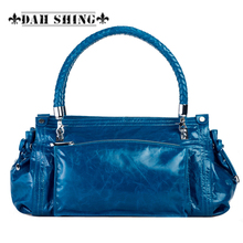 Vintage style women's genuine leather handbag Tote top cowhide shoulder bag clutch evening bag braided handle