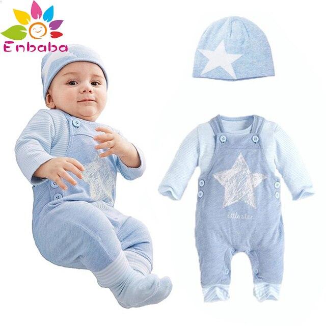 Enbaba детская одежда зима случайные бренд новорожденных мальчиков одежда мультфильм звезда (Шляпа + длинный футболка + в целом) 3 шт. костюмы infantil
