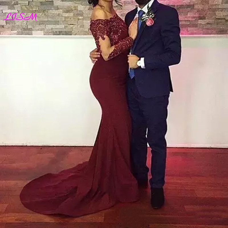 Burgundy Off the Shoulder Long African Prom Dresses Sexy Mermaid Bodice Formal Evening Dress 2019 Sheer Full Sleeves Party Gowns