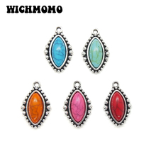 10pieces 24mm Zinc Alloy Silver Inlay Resin Beads Water Drop Shape Charms Pendants DIY Necklaces Bracelets Jewelry Accessories