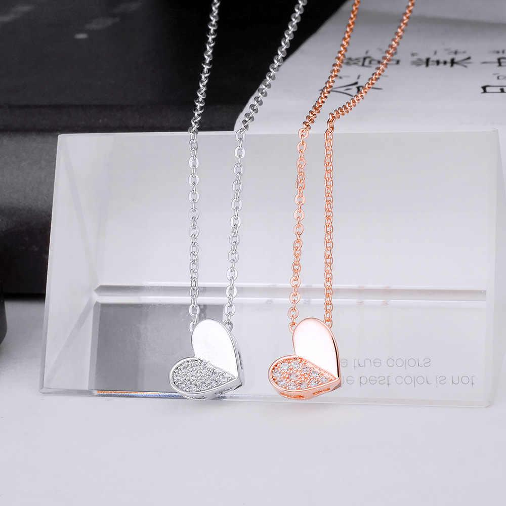 YUN RUO Micro Pave Zircon pierre coeur pendentif collier ras du cou couleur or Rose mode bijoux cadeau d'anniversaire femme livraison directe