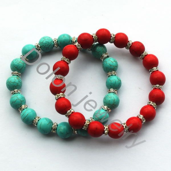 10mm Red Coral and Blue Natural Stone Bead Bracelet