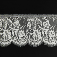 3Meters/Lot White Floral Embroidered Lace Trim Lash Eyelash Ribbon Width/16cm African Fabric DIY Clothing Accessories
