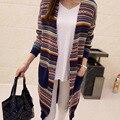 Осень новые женские национальные ветер старинные свитер кардиган открыть стежка femme свободные вязать свитер пальто длинный пончо женской одежды