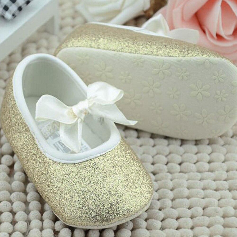 Bling Golden Baby Shoes Newborn Girls Soft Bottom Frist Step Toddler Prewalker Infant Footwear for 0 to 18 Month