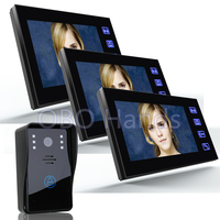 7 Color Video Door Phone Intercom System 3 Monitor Doorbell Camera Intercom Kit IR Night Vision