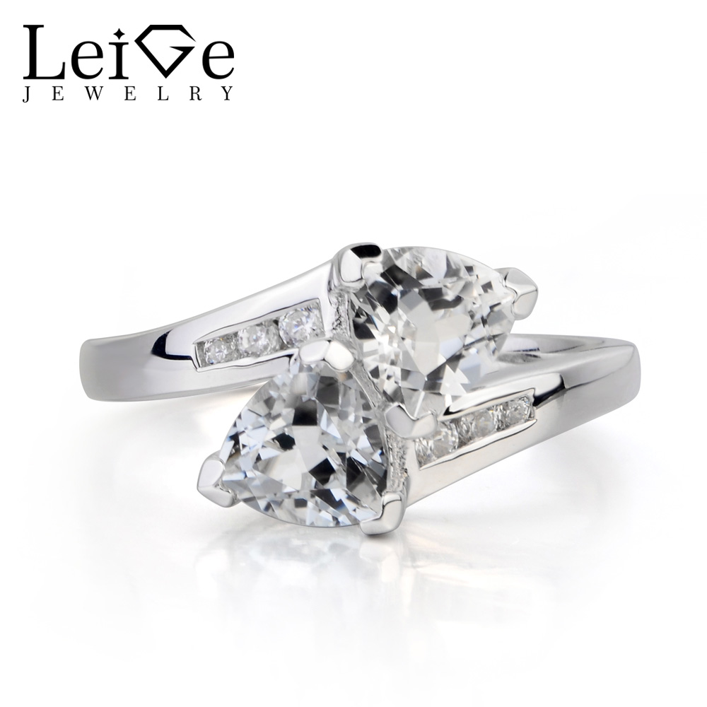 Leige Jewelry Genuine Natural White Topaz Ring November Birthstone Trillion Cut Gemstone Solid 925 Sterling Silver Ring for Her